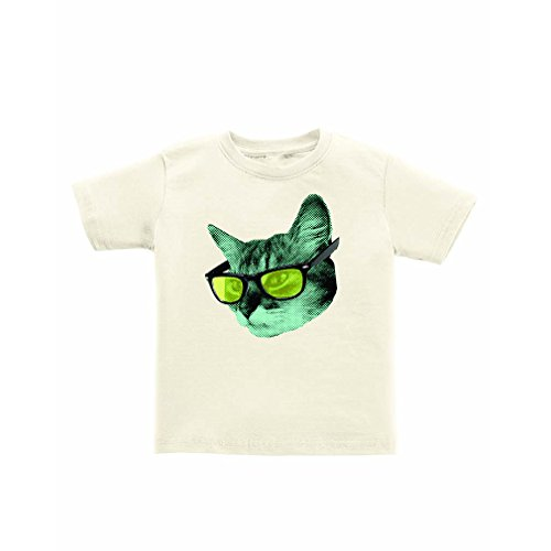 Apericots 100% Certified Organic Cotton Quirky Kids Tee Cool Kitty Cat Glasses (Tagless Cat Collar)