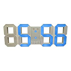 Bordell Jumbo LED Digital Wall & Desk Clock with Extra Large Numbers (White / Blue)