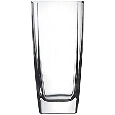 Circleware 10130 Cube Heavy Base Highball Tall Glasses, Set of 4 Cocktail Glassware for Water, Juice, Ice Tea Punch, Beer, Wine, Liquor, Whiskey & Beverage Drinks 17 oz Square Tumblers