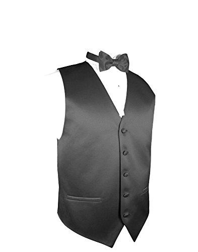 Mens Combination Suit - Men's Vest & Bow Tie Set- Charcoal 2XL
