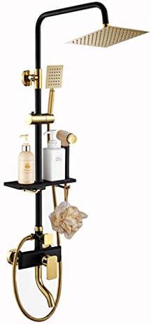 浴室のシャワー蛇口セットゴールドブラック降雨スプレーシャワーミキサーウォールマウントホット冷たい水をタップミキサーでハンド 高圧レインシャワーヘッド (Color : A)
