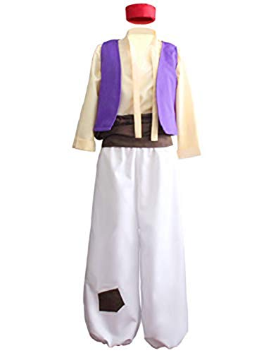 Angelaicos Mens Arab Prince Costume Fairy Tale Suits Halloween Cosplay Party Hat (XL) Purple -