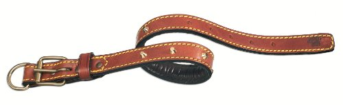 Petego La Cinopelca Padded Leather Dog Collar with Studs Black, Fits 20 Inches to 23 Inches