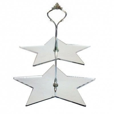 Two Tier Star Shaped Cake Stand - Mirrored - Handled Cake Platter