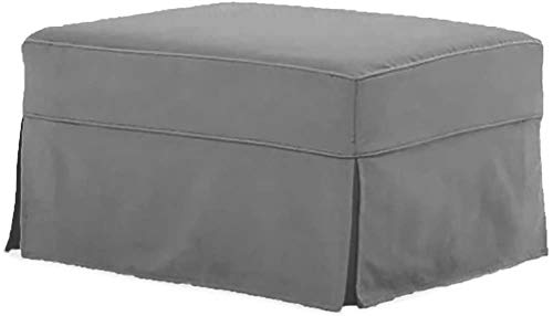 The Cotton Ottoman Slipcover Replacement. It Fits Pottery Barn PB Comfort Ottoman. Dense Cotton Sofa Footstool Cover (Comfort Light Gray) (Pottery Barn Pb)