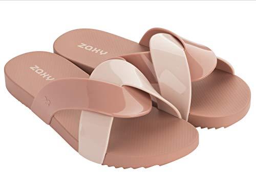 (Zaxy Swirl Women's Slide Sandal, Nude (7 US))