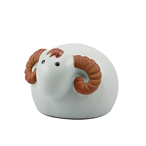 LINGS Chinese Zodiac Statues Ceramics Guardian,Feng Shui Decor,for Home and Office Attract Wealth and Good Luck,Best Housewarming Congratulatory Gift,Sheep