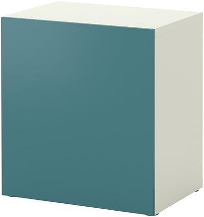 IKEA BESTA - Estantería con puerta, blanco, gris-turquesa ...