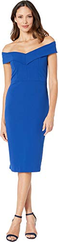 eci Women's Off The Shoulder Sweetheart Neck Scuba Crepe Sheath Blue 4
