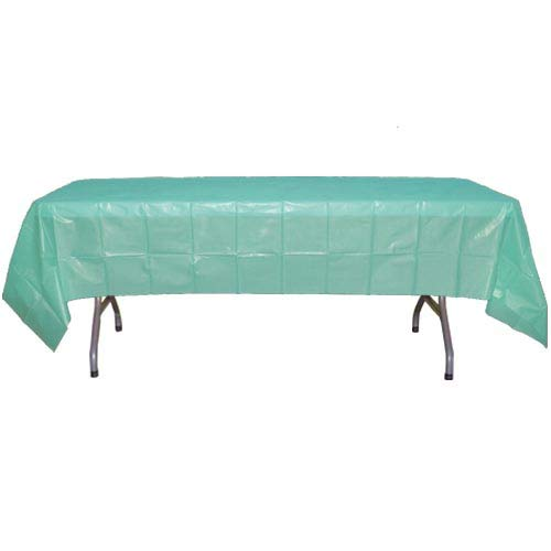 - 12-Pack - Premium Plastic Tablecloth 54in. x 108in. Rectangle Table Cover - Aqua Blue