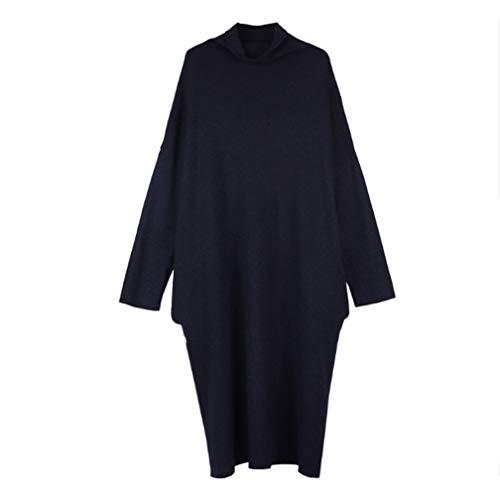 Blu Selling Maglione Donna Coprire Casual Schiacciare Alto Codice Gonna Scuro Grandi Dimensioni Colletto Tasca Wear Pullover Donne Carne Grasso Flash Pieghe Sciolto pRrpnxTd