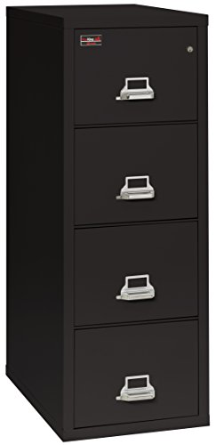 Fireking Fireproof 2 Hour Rated Vertical File Cabinet (4 Letter Sized Drawers, Impact Resistant, Waterproof), 56.19'' H x 19'' W x 31.19'' D, Black by FireKing