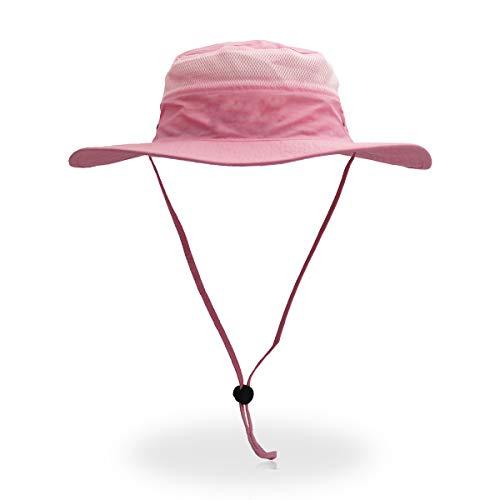 QingFang Wide Brim Sun Hat Mesh Bucket Hat Lightweight Bonnie Hat Perfect for Outdoor Activities Pink]()