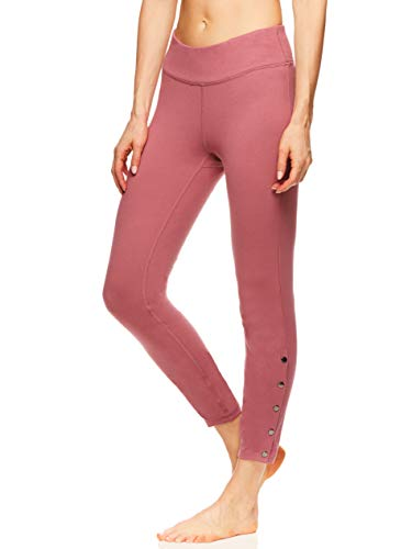 Gaiam Women's High Waisted 7/8 Yoga Pants - Performance Compression Workout Leggings - Katya Deco Rose, Large (Gold Pant River)