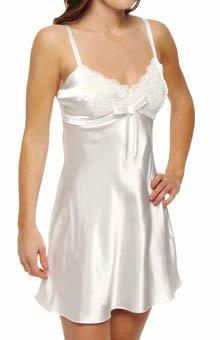Jones New York Solid Satin Bridal Chemise, Bone, Medium