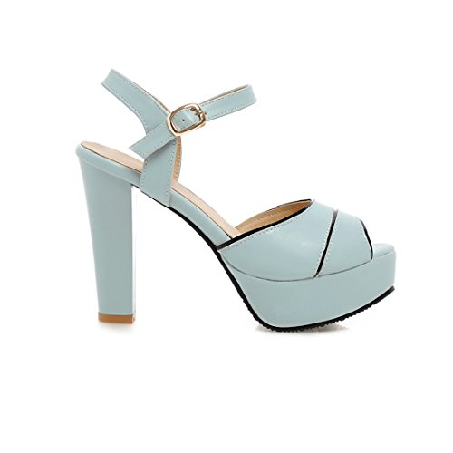 YE Women Block High Heels Sandals Platform Pumps with Buckle Sweet Shoes Blue OUIUmLWx