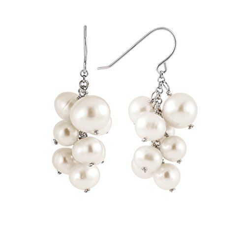925 Sterling SIlver Cluster Hook Earrings White off Round Handpicked AA Quality Cultured Freshwater - Cultured Drop Peacock Pearl