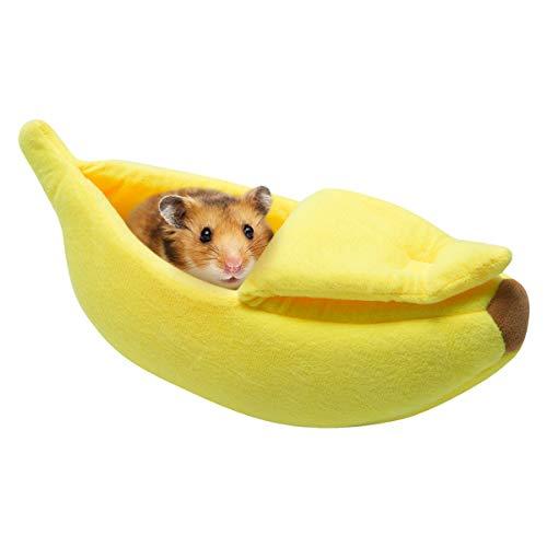 Dwarf Hamster Halloween Costumes (Hollypet Warm Small Pet Animals Bed Dutch Pig Hamster Cotton Nest Hedgehog Rat Chinchilla Guinea Habitat Mini House, Yellow)