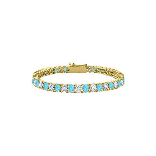 Created Blue Topaz and Cubic Zirconia Tennis Bracelet in 18K Yellow Gold Vermeil 10CT TGW 7 Inch