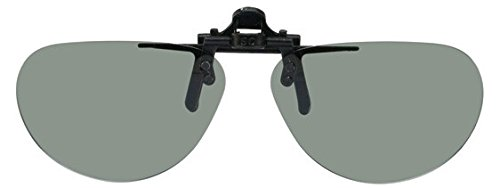 Polarized clip-on flip-up plastic sunglasses - small oval - 52mm Wide X 37mm High (117mm Wide) - polarized grey - Laser Sunglasses