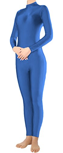 [Marvoll Lycra Long Sleeve Unitard Bodysuit Dancewear for Kids and Adults (Medium, Blue)] (Spandex Suits)