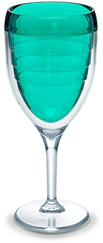 Tervis 1305716 Clear & Colorful Insulated Tumbler 9 oz Wine Glass Tritan Coastal Green