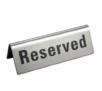 New Star Foodservice 26887 RESERVED Table Tent Sign, Stainless Steel, 4 x 1.5-Inch, Set of 6