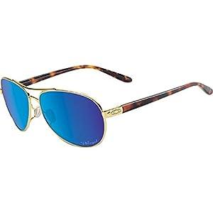 Oakley Women's Feedback Polarized Iridium Aviator Sunglasses, Polished Gold & Sapphire Iridium, 59 mm