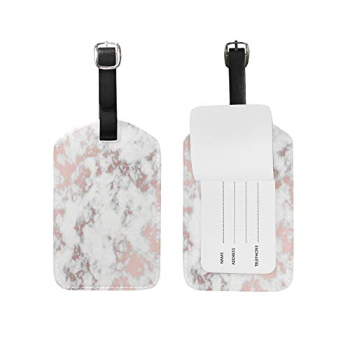 Wamika Rose Gold Marble PU Bag Baggage Suitcase Luggage Tags Travel Accessories 1 Piece