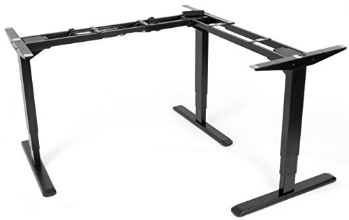 VIVO Electric Motor Sit Standing Height Adjustable Corner Three Leg Desk (Frame only) Stand Ergonomic L Frame (DESK-V133E) - Large Leg Desk