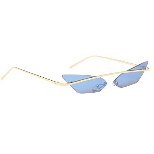 Chat Oeil 7 Métallique Prettyia Transparente Petit Rétro Soleil Couleurs De P Bleu Monture Lentille Sans Lunettes Cadre wgfXqnx