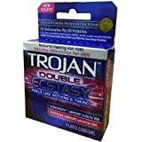Trojan Double Ecstasy Premium Lubricated Latex Condoms for Contraception and STI Protection, 3 Count