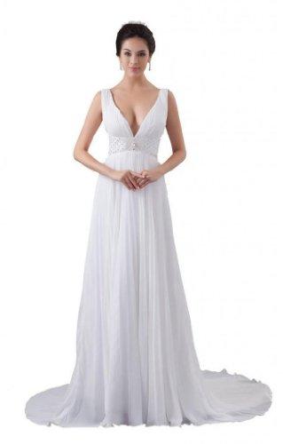 Ivory Dearta Chiffon Dresses Neck V Wedding Train Court Women's Line A fqvwRfOp