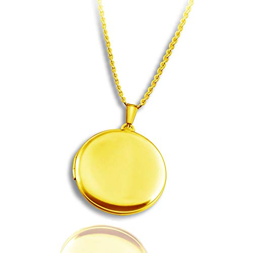 PHOCKSIN Gold Plated Round Shape Lockets for Men That Hold Pictures Necklace Pendant Photo Memory