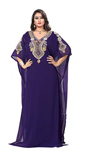 KoC Women's Kaftan Maxi Dress Farasha Caftan KFTN117-Purple