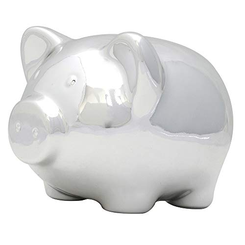 Applesauce Ceramic Piggy Bank, Baby Nickel, Plated Silver