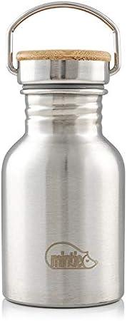 Mintie Botella de agua de acero inoxidable (350 ml) pequeña botella de metal a prueba de fugas para niños, escuela, 12oz libre de BPA. Senderismo, ciclismo, gimnasio, camping