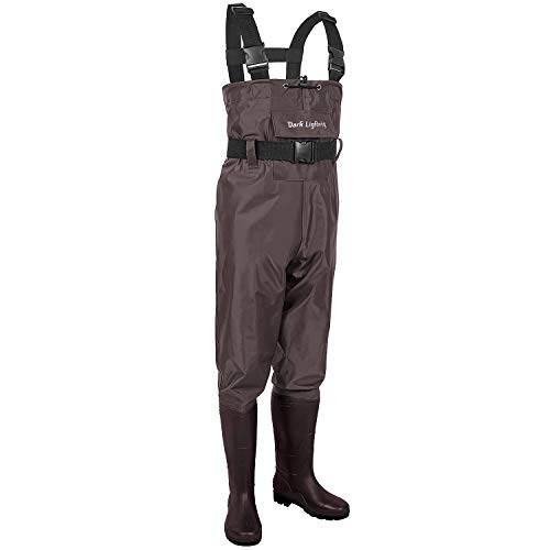 Dark Lightning Fishing Wader for Men and Women with Boots, Mens/Womens High Chest Waders (Brown, M11/W13)
