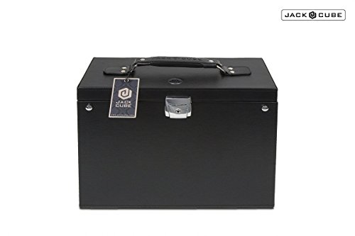 Jack Cube Office File Hanging file Folder Filing Cabinet Document Storage Box Organizer Holder Hanger for Briefcase Bag with Key Lock Black Leather(14.06 x 11.10 x 6.18 inches)-MK150