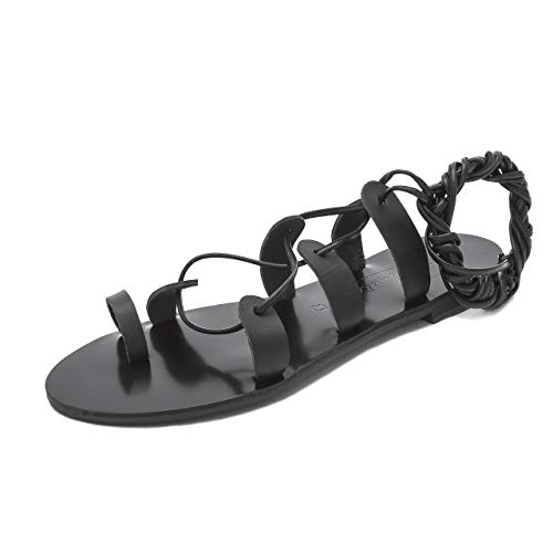 Faites Helena Sandales Cuir Plates Chaussures D'été À La Noir Bohèmes Femme Main Schmick En Spartiates Pour Chics 7B1nqwqxA