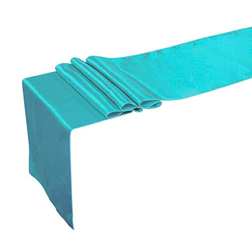 Breeze Talk Table Runner 12 x 108 Inch Satin Turquoise Tiffany Blue Tablecover for Wedding Banquet Decorations, Bridal Shower, Christmas, Birthday, Graduation, Prom, Party Table Décor, Pack of 5