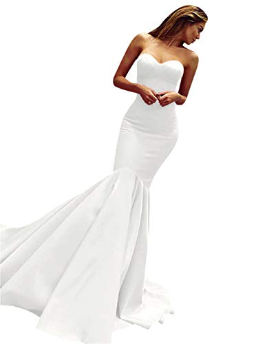 - LeoGirl Women's Sweetheart Satin Evening Party Dress Sexy Mermaid Long Prom Gown White 2