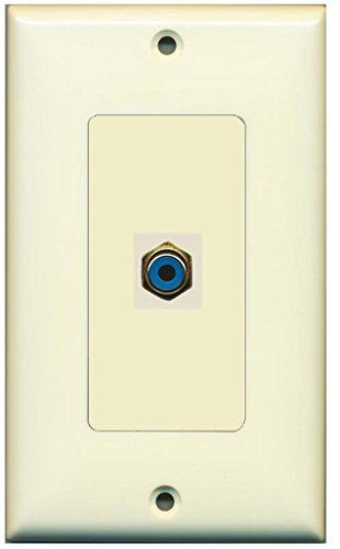RiteAV - 1 RCA Blue for Subwoofer Audio Port Wall Plate Decorative - Light - Insert Rca Almond Female