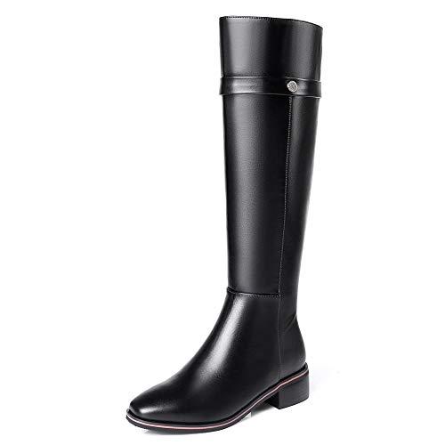 Hoesczs Cuero Altas A El Zapatos Estrenar Botas 33 Vaca Zip De 42 Black Genuino Más Rodilla Tamaño Up Mujer RprRwxTAq