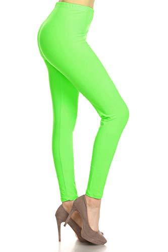 LDR128-NeonGreen Basic Solid Leggings, One Size (80s Spandex Leggings)