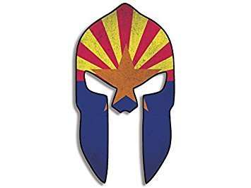MAGNET Spartan Helmet Shaped Distressed ARIZONA Flag Magnet