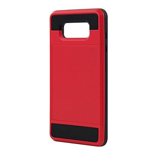 Telefon-Kasten - SODIAL(R)Karte Tasche Stossfeste Duenne Hybrid Mappe Abdeckung fuer Samsung Galaxy A7 Rot