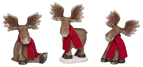 Transpac Set of 3 Resin Christmas Moose Figurines ()