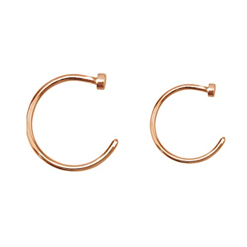 (Rose Gold Flat Disc Nose Hoop 316L Surgical Steel Ring (20G - 8mm & 10mm (Both Sizes)) )