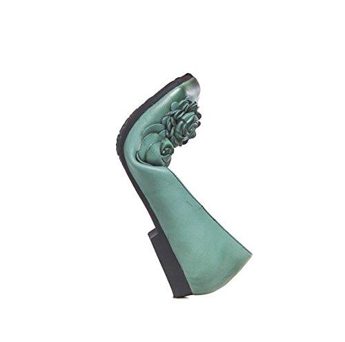 Personalidad De Suela Redonda Planos Boca Verde Verde Amarillo YNXZ Moda La Poco Cuero Cabeza De Zapatos Mujeres Respirable Goma 35 Antideslizante Sandalias Profunda Flores De Cómodo Estilo De Las SHOE pcRqpaH